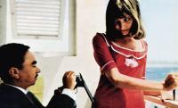 PIERROT LE FOU, from left: Jimmy Karoubi, Anna Karina, 1965