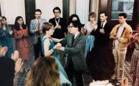 PARADIS POUR TOUS, (aka PARADISE FOR ALL), dancing from left: Fanny Cottencon,, Jacques Dutronc, Patrick Dewaere (right with mustache), 1982, © Planfilm
