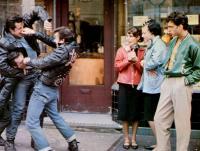 THE LORDS OF FLATBUSH, Paul Mace, Sylvester Stallone, Henry Winkler, Paul Jabara, (right), 1974