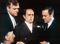 LITTLE MISS MARKER, from left: Brian Dennehy, Bob Newhart, Tony Curtis, 1980, © Universal
