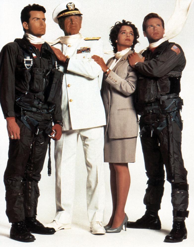 HOT SHOTS!, from left:  Charlie Sheen, Lloyd Bridges, Valeria Golino, Cary Elwes, 1991. ©20th Century-Fox Film Corporation. TM & Copyright