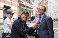 HECTOR AND THE SEARCH FOR HAPPINESS, from left: director Peter Chelsom, Simon Pegg, on set, 2014. ph: Ed Araquel/©Relativity Media