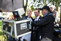 HECTOR AND THE SEARCH FOR HAPPINESS, from left: Rosamund Pike, Simon Pegg, director Peter Chelsom, on set, 2014. ph: Ed Araquel/©Relativity Media