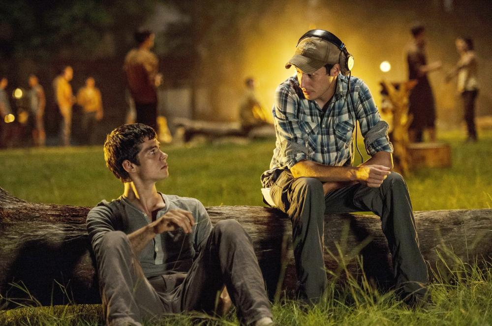 THE MAZE RUNNER, front, from left: Dylan O'Brien, director Wes Ball, on set, 2014. ph: Ben Rothstein/TM and ©Copyright 20th Century Fox Netherlands. All rights reserved.