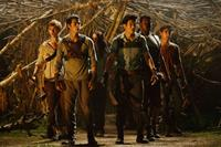 THE MAZE RUNNER, Thomas Brodie-Sangster (left), Kaya Scodelario (left of center), Dylan O'Brien (front left), Ki Hong Lee (front right), Alexander Flores (right), 2014. ph: Ben Rothstein/TM and ©Copyright 20th Century Fox Netherlands. All rights reserved.