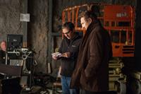 A WALK AMONG THE TOMBSTONES, from left: director Scott Frank, Liam Neeson, on set, 2014. ph: Atsushi Nishijima/©Universal Pictures