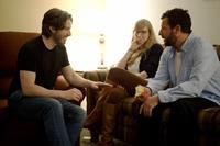 MEN, WOMEN & CHILDREN, from left: director Jason Reitman, producer Helen Estabrook, Adam Sandler, on set, 2014. ph: Dale Robinette/©Paramount Pictures