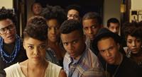 DEAR WHITE PEOPLE, front, from left: Tessa Thompson, Tyler James Williams, Brandon P Bell, 2014. ©Roadside Attractions