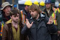HORNS, from left: Daniel Radcliffe, director Alexandre Aja, on set, 2013. ph: Doane Gregory/©Dimension Films