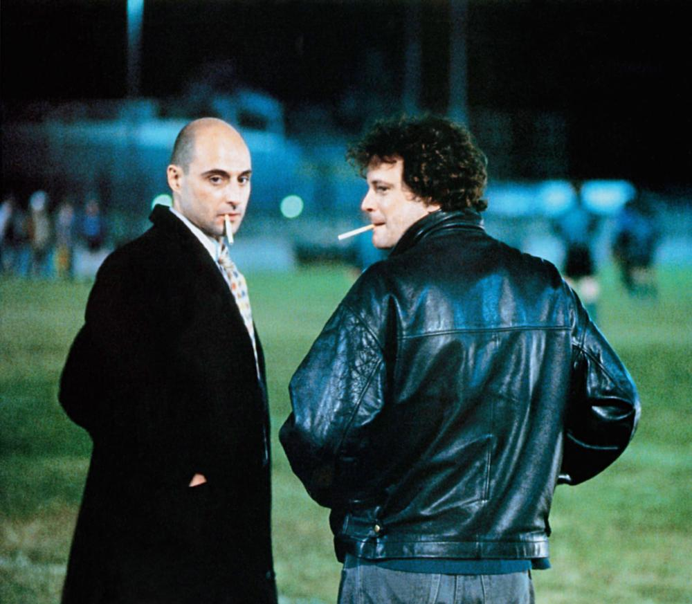 FEVER PITCH, from left: Mark Strong, Colin Firth, 1997, © Phaedra Cinema