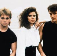 EDDIE AND THE CRUISERS II: EDDIE LIVES!, from left: Bernie Coulson, Marina Orsini, Michael Pare, 1989, © Scotti Brothers