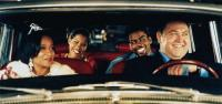 DOWN TO EARTH, front from left: Wanda Sykes, Mark Addy, rear from left: Regina King, Chris Rock, 2001, © Paramount