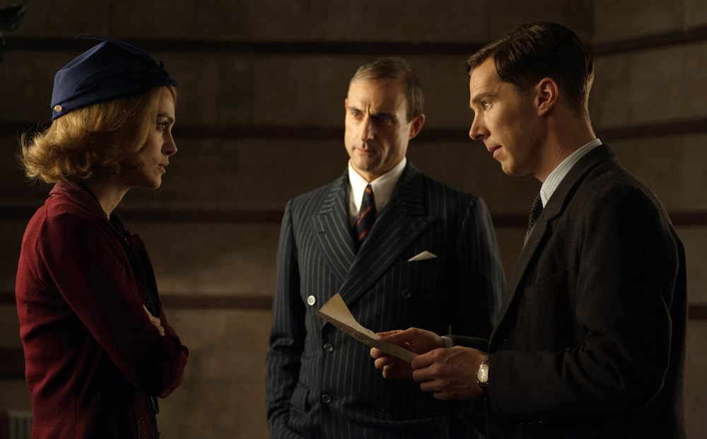 THE IMITATION GAME, from left: Keira Knightley, Mark Strong, Benedict Cumberbatch as Alan Turing, 2014. ph: Jack English/©Weinstein Company