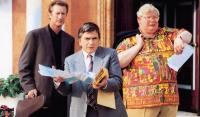 BLAME IT ON THE BELLBOY, from left: Bryan Brown, Dudley Moore, Richard Griffiths, 1992, © Buena Vista