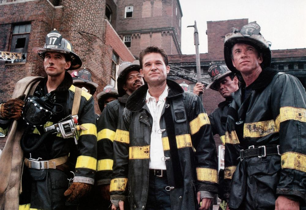 BACKDRAFT, from left: William Baldwin, Cedric Young, Kurt Russell, Kevin M. Casey, Scott Glenn, 1991. ©Universal Pictures