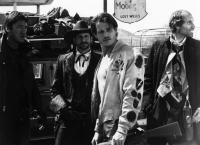 WORLD GONE WILD, Alan Autry, Rick Podell, Michael Pare, Anthony James, 1988, (c)Lorimar Film Entertainment